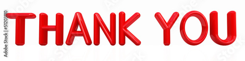 """thank you"" 3d red text"