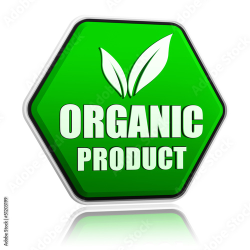 organic product with leaf sign in green button