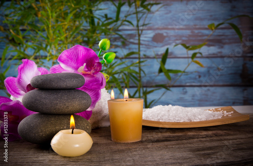 Spa still life with aromatic candle - 51203378