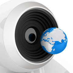 Web-cam and earth.Global on line concept