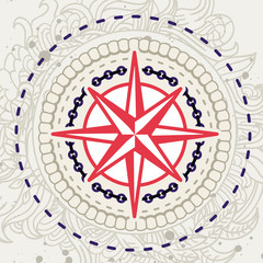 Abstract vector background with compass icon