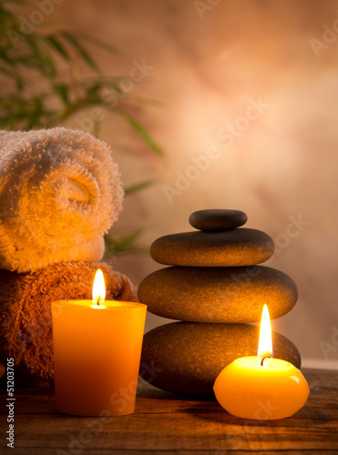 canvas print picture Spa still life with aromatic candles