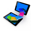 tablet pc and colorful real books and on white background