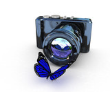 3d illustration of photographic camera and butterfly on white
