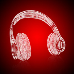 3d model headphones on gradient background