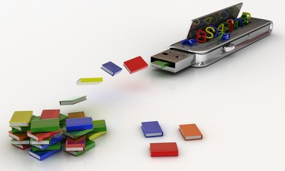 USB flash drive 3D. The transfer of data, business concept.