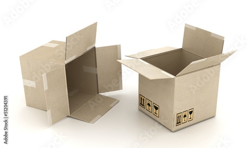 two cardboard boxes B3-d visualization
