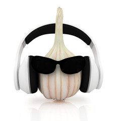"""Head of garlic with sun glass and headphones front """"face"""""""