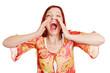 Wütende Frau schreit lauthals