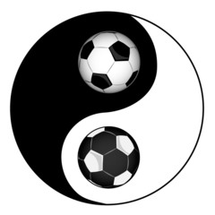 Football. Philosophy football. Yin yan symbol of harmony and bal