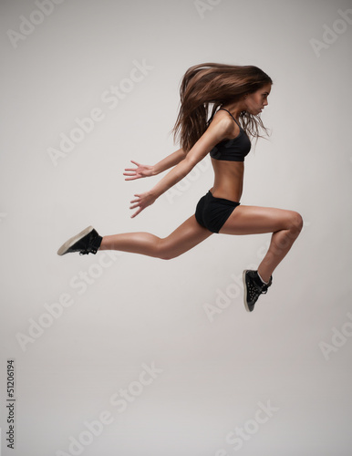 beautiful modern dancer jumping