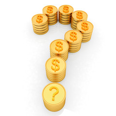Question mark in the form of gold coins with dollar sign