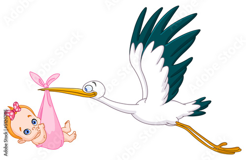 Stork and baby girl - 51207115