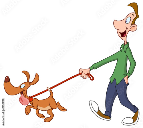 Man walking dog