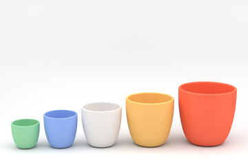 Various color ceramics flowerpot set, rendered models