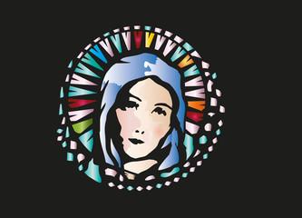 Bleiglasfenster Maria