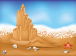 Sand Castle on beach, vector illustration