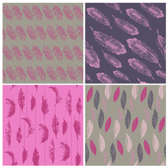 Feather Seamless Background - for design and scrapbook - in vect