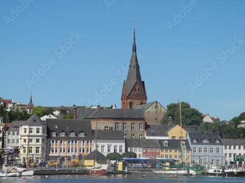 canvas print picture Hafen und Marienkirche in Flensburg