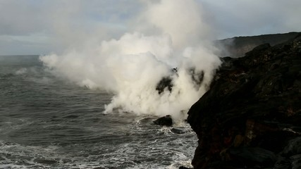 Lava flow in to the sea in Hawaii