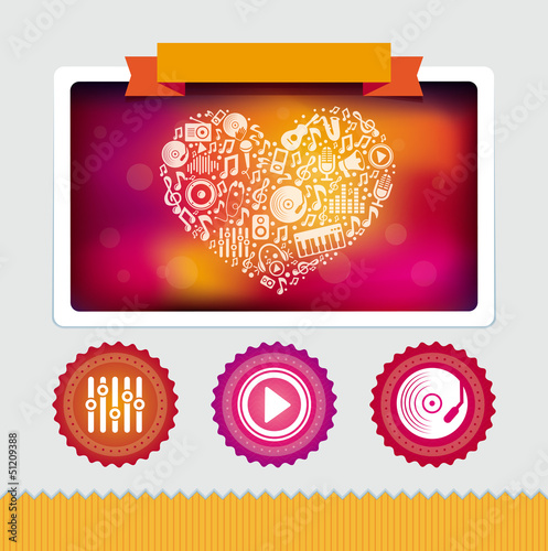 Vector design template with music icons and signs