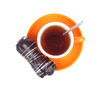 Cup of tea and cake in chocolate on a white background