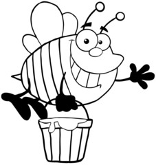 Outlined Smiling Bee Flying With A Honey Bucket