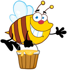 Bee Flying With A Honey Bucket And Waving For Greeting