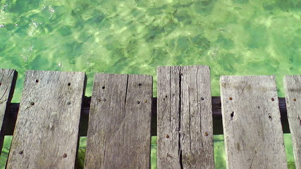 Wooden Pier and Tropical Water, Cancun, Mexico