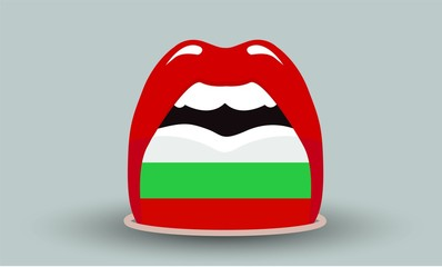 open mouth with bulgarian flag on tongue