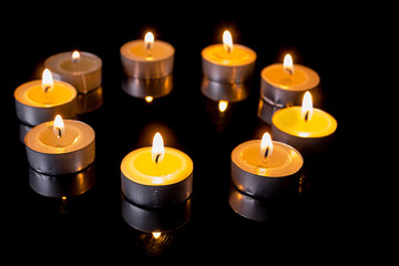 small candles in a circle
