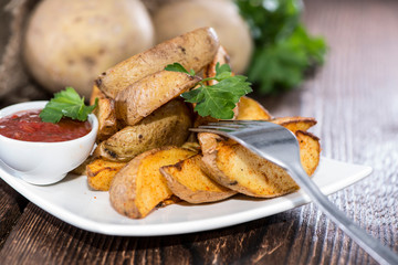Portion of fresh made Potato Wedges