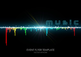 "event flyer template ""colorful equalizer"""
