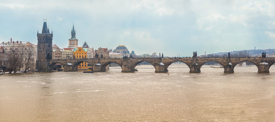 Charles Bridge in Prague, Panoramic View