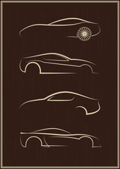 Calligraphic car logo set