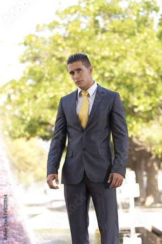 Young businessman at the city park