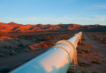 Pipeline in the Mojave Desert, California.