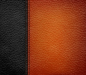 Black leather background with brown leather strip. Vector illust