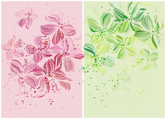 Orchids. Beautiful pastel colored vector design