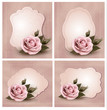 Collection of retro greeting cards with pink roses. Vector illus