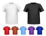 Black and white and color men polo t-shirts. Design template. Ve