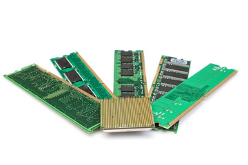 Details of computer memory ram and CPU of the old generation. On