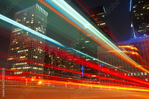 Fototapety, obrazy : Long Exposure of bus in downtown Los Angeles.