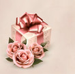 Holiday retro background with pink roses and gift box. Vector il