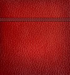 Red leather background with red leather strip. Vector illustrati