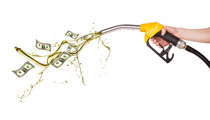 Concept of dollar banknotes and petrol splashing out of pistol