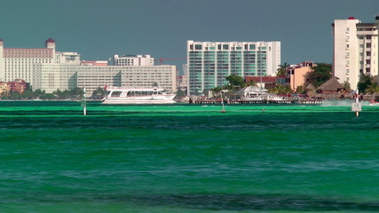 Resort skyline and beach in Cancun, Mexico