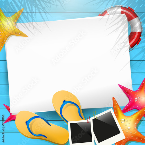 Summer background with empty paper