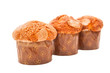 Fresh homemade muffins isolated on white. Clipping path included