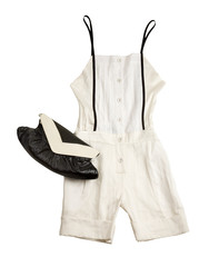 White shirt playsuit styling fashion composition
